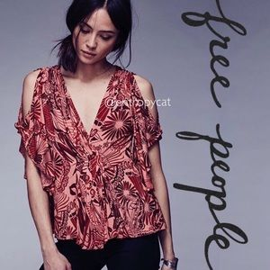 NWT Free People Amour Abstract Cold Shoulder Top